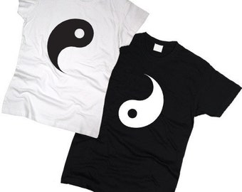 "Couple T-shirts set ""Ying Yang"" set of 2 couple T-shirts Ying Yang Tshirt set of 2 couple shirts 100% cotton BFF Best Friend Tshirts"