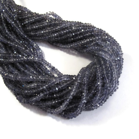 Iolite Faceted Rondelle Beads, 3mm - 3.5mm Faceted Iolite Gemstones, 6.5 Inch Strand, Necklace Rondelles, Jewelry Supplies (R-Io1)