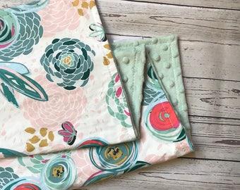 Watercolor Baby Blanket, Floral Baby Blanket, Watercolor Floral Baby Blanket, Pink Green Baby Blanket, Baby Girl Blanket, Stroller Blanket,