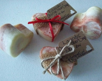 3 Organic Soap Hearts/Essential Oil Soap/Natural Soap/Handmade Soap/Heart Gift Soap/Cold Process Soap/Lavender Orange Soap/Mother's Day Gift