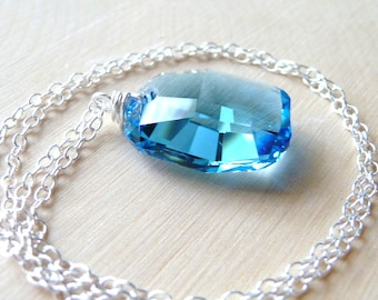 Aquamarine Blue Swarovski Necklace, Wire Wrapped Crystal Glass Pendant, Sterling Silver Necklace, Fashion