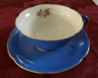 OCCUPIED JAPAN CASTLE China Tea Cup And Saucer Blue With Rose Decor
