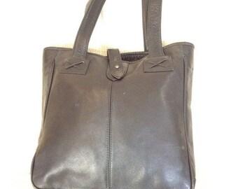 15% SUMMER SALE Genuine CLAVA vintage black leather tote bag