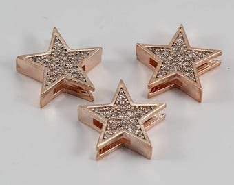5 Pcs Micro Star Beads, Rose Gold Plated, Micro Pave Star Beads, Bracelet Connectors, CZ Space Bead, Cz Pave Women Bracelet, MMT83