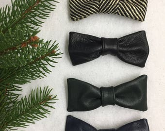 Leather and silk bow ties