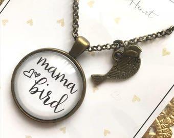 "Mama Bird -Pendant Necklace Jewelry Bronze 30"" Adjustable Chain"