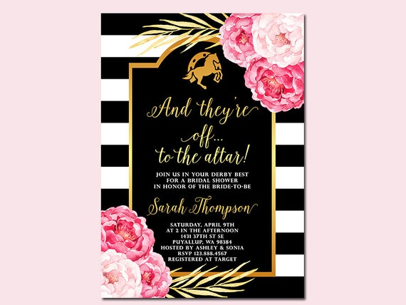 Kentucky Derby Bridal Shower Invitation And theyre off