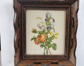 Vintage Framed Floral Print Wood Frame