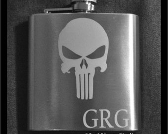 Etched 6oz Stainless Personalized The Punisher Flask  by Jackglass on Etsy