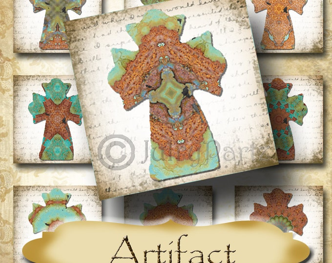 ARTIFACT•1x1 Cross Images•Printable Digital Images•Cards•Gift Tags•Stickers•Magnets•Digital Collage Sheet