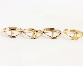 Gold Vintage Initial Ring - A,E,L