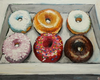 Print of Donuts 5 oil painting by Roz 18x24inch