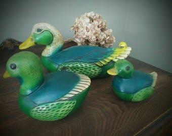 Vintage set of 3 Ducks by Devonware Canada-Genuine Handpainted