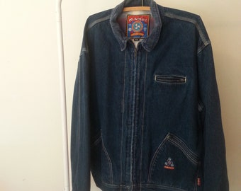 Mens Vintage Mambo Denim Jacket with Plaid Lining