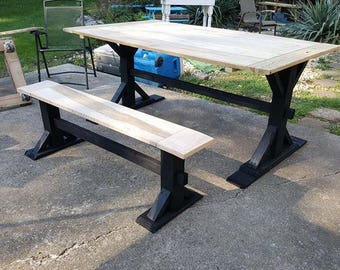 Reclaimed Wood Trestle Dining Table and Bench