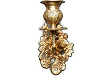 Vintage BRASS CANDLE SCONCE Paris Apartment Floral Gold Wall Sconce Candle Holder Shabby & Chic Sconce