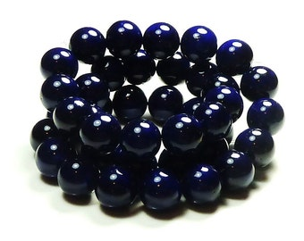 6mm Midnight Blue Fossil Stone Round Beads - 16 Inch Strand - BA7
