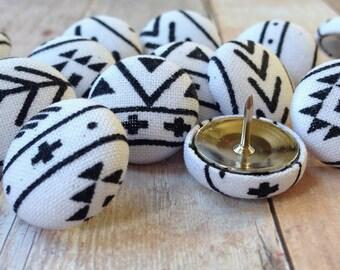 Gift,Push Pins,Pushpins,Thumb Tacks,15 Thumbtacks,Aztec,Aztec Nursery,Black and White,Office Decor,Tribal,Tribal Nursery,Home Decor