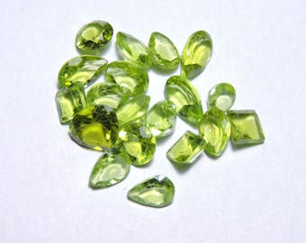 18 Pcs Lot Very Beautiful  Natural Faceted Peridot Multi Shapes Loose Gemstone Beads Size 7X7 - 4X5 MM