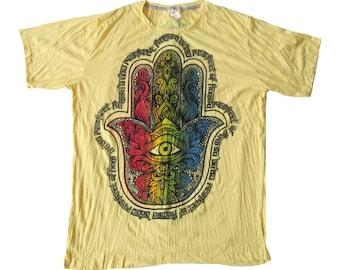 Size XL // Hamsa Hand of Fatima Eye Buddha T-Shirt Soft Comfy Preshrunk Cotton Boho Yellow T-Shirt