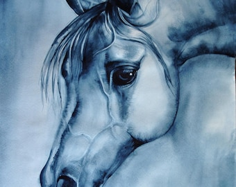 horse painting, blue wall art, watercolor painting, SvetnikArt