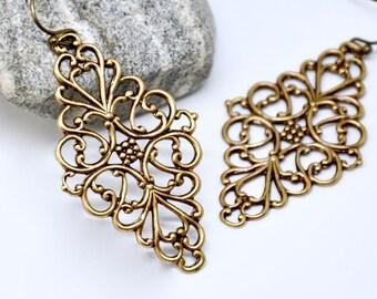 Diamond Shape Filigree Earrings, Long Bohemian Earrings, Antique Brass, Art Deco Earrings, Elegant Earrings, Art Deco Jewelry, Boho Jewelry