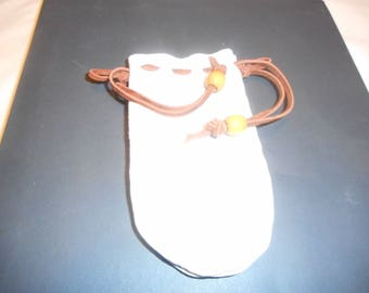 SMALL Natural Deerskin HANDMADE Pouch Re-enactment, Jewery, Marbles, Crystals, Tobacco, Possibles, Tinder, What-not, Easy Open