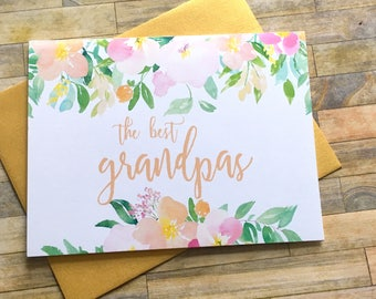 Pregnancy Announcement Card - Pregnancy Reveal to Grandpa - The best Grandpas get Promoted to Great Grandfather - SPRING BLOSSOM