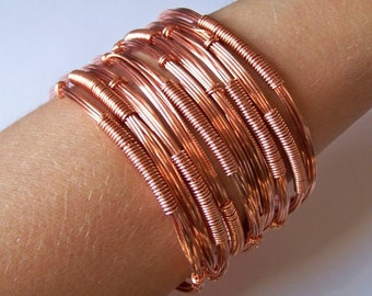 Copper Stackable Bangles - DECO - Wire Wrapped Copper Bangle Bracelets - Natural Copper Healing Bangles - Stacking Bangls - Made to Order