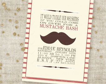 Barber Shop Mustache Bash Boy Birthday Invitation with Stripes and Brown 'Stache Custom Invites with Professional Printing Option