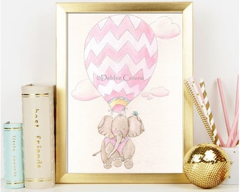 "Elephant Hot Air Balloon Nursery, Girl Baby Shower Gift, Pink Chevron, Elephant Travel Theme, Fine Art Print, 6 Sizes-5 x 7"" to 24 x 36"""