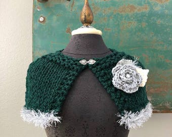 Tinsel Town Capelet in Pine Green and Silver Gray