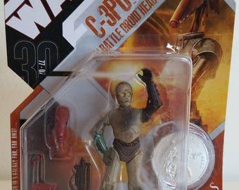 Star Wars C3P0 w/ battle droid head 30th anniversary
