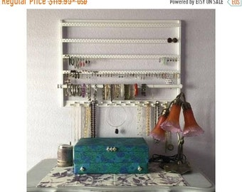 "ON SALE Jewelry Holder, 28"" W x 20"" L, Earring Holder, ""You Choose The Stain"", Solid White Oakwood, Earring Holder, Wall Mount, Jewelry Orga"