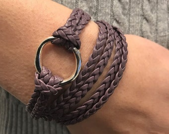 Infinity Circle Wrap Bracelet, Leather Jewelry, Braided Flat Leather, Leather Cuff Bracelets, Gift for Her, Leather, Triple Wrap, Bangles