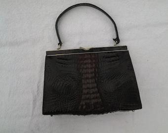 Kelly Handbag in Crocodile or Alligator. Genuine Vintage