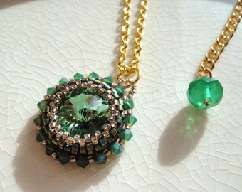 Beaded Swarovski Rivoli Necklace Pendant