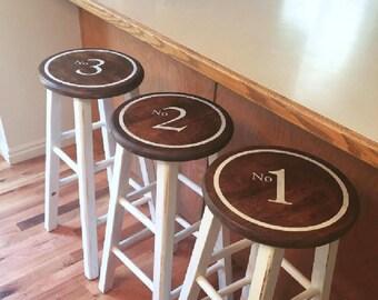 Vinyl stencil numbered bar stools farmhouse antique