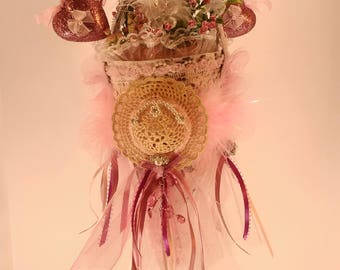 Mother's Day Bouquet, Cone-shaped, handmade, hanging, Floral, Tussie Mussie, Nosegay, gift, Shabby Chic,  Cottage Decor,  flower arrangement