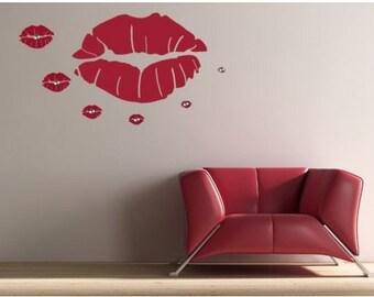 Kiss Hanger lips wall decal, sticker, mural, vinyl wall art