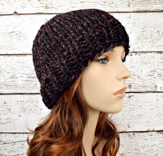 Knit Hat Womens Hat Mens Hat - Toque Beanie Hat in Blackstone Black Charcoal Grey Red Wine - Womens Accessories Winter Hat