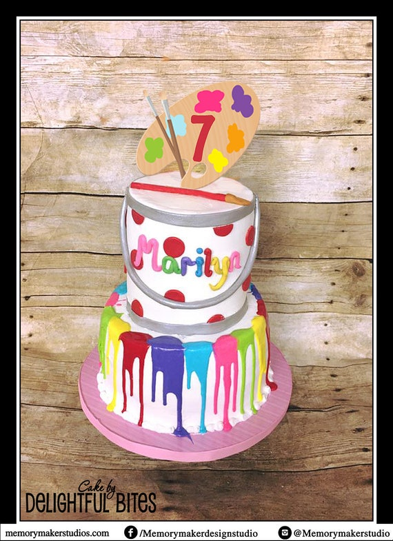 Paint Party Cake Topper Paint Palette cake topper Art Cake