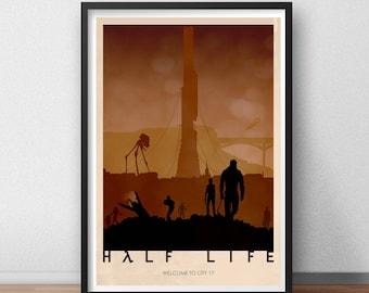 Half Life 2 Gordon Freeman Post Apocalyptic City 17 Citadel Game Gaming Poster Print Graphic Design Minimal Minimalist Alternative Artwork