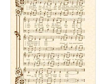 LAMB OF GOD - Custom Christian Home Decor - Vintage Verses Sheet Music - Hymn Wall Art - Inspirational Wall Decor - Antique Hymn Art - Sepia