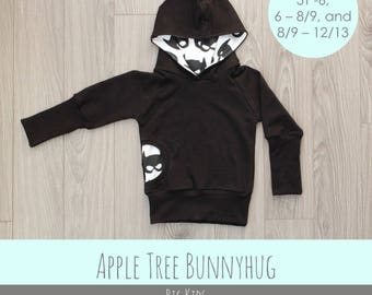 Apple Tree Bunnyhug Grow With Me Hoodie *PDF Pattern* Size 6 up to 12/13 Grow with me Bunny Hug Shirt Sewing Pattern - BIG Kids Sizes