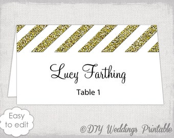 "Wedding place card template gold glitter ""Diagonal stripes"" DIY name cards printable placecards Word /Jpg digital download Avery 5302"