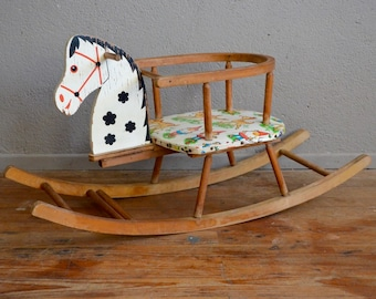 Rocking horse old vintage retro 50s antic rocking horse kid toy wooden toy birth gift birth present midcentury