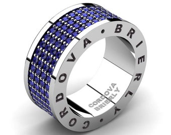Mens Modern 14K White Gold 2.1 Ctw Blue Sapphire Pave Cluster Wedding Band R794CB-14KWGBS