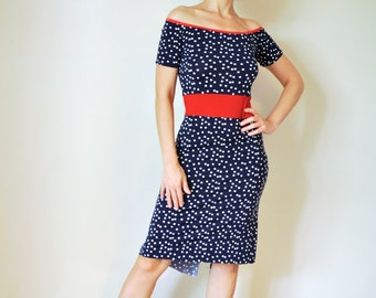 Blue tango milonga swing dress with white polka dot and red off shoulder