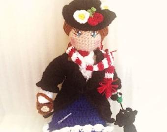 Mary Poppins doll,crocheted. Handmade